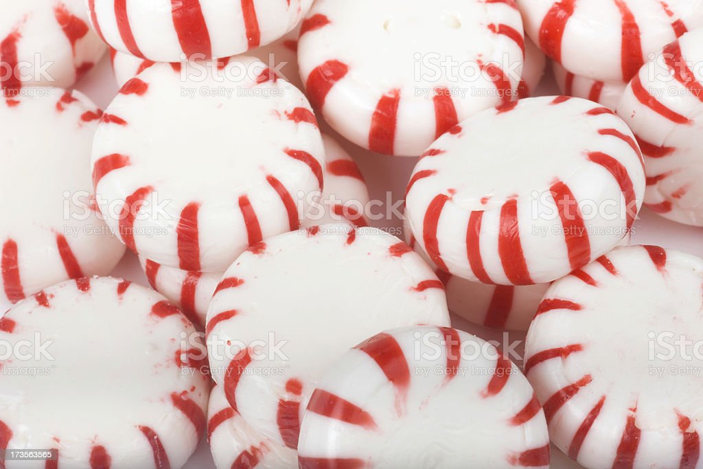 Peppermint Christmas Candy,  Close-up, Circular Red-and-White Striped Sweet Food royalty-free stock photo