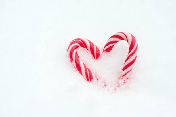 Peppermint Heart in Snow stock photo