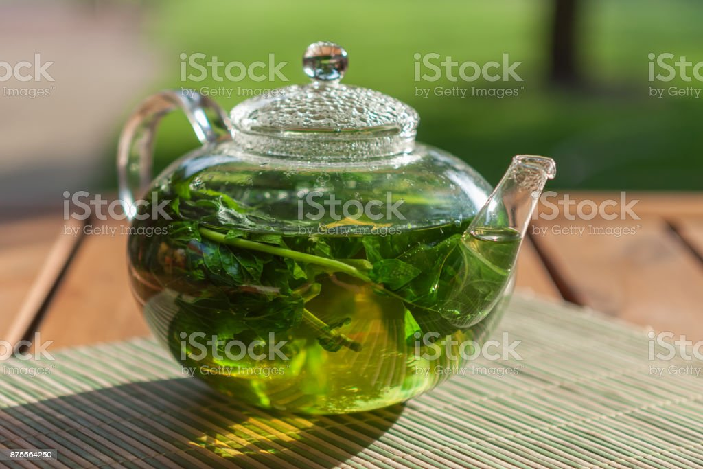 Peppermint herbal tea stock photo