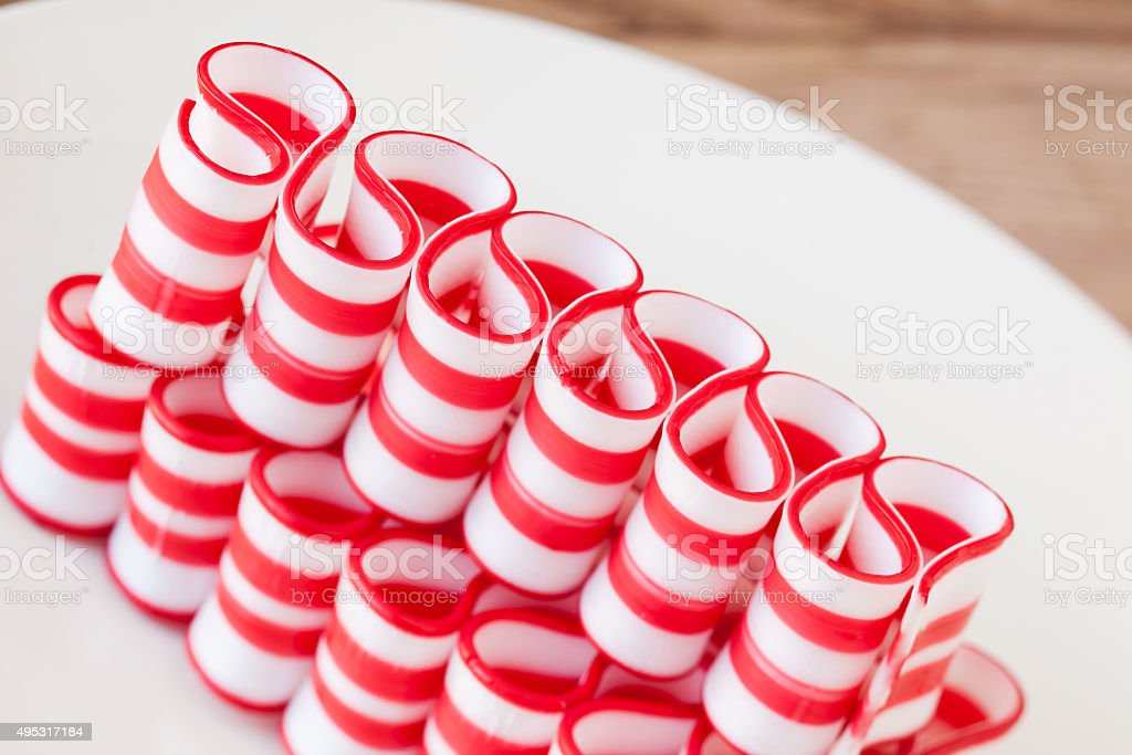 Peppermint ribbon candy holiday treat stock photo