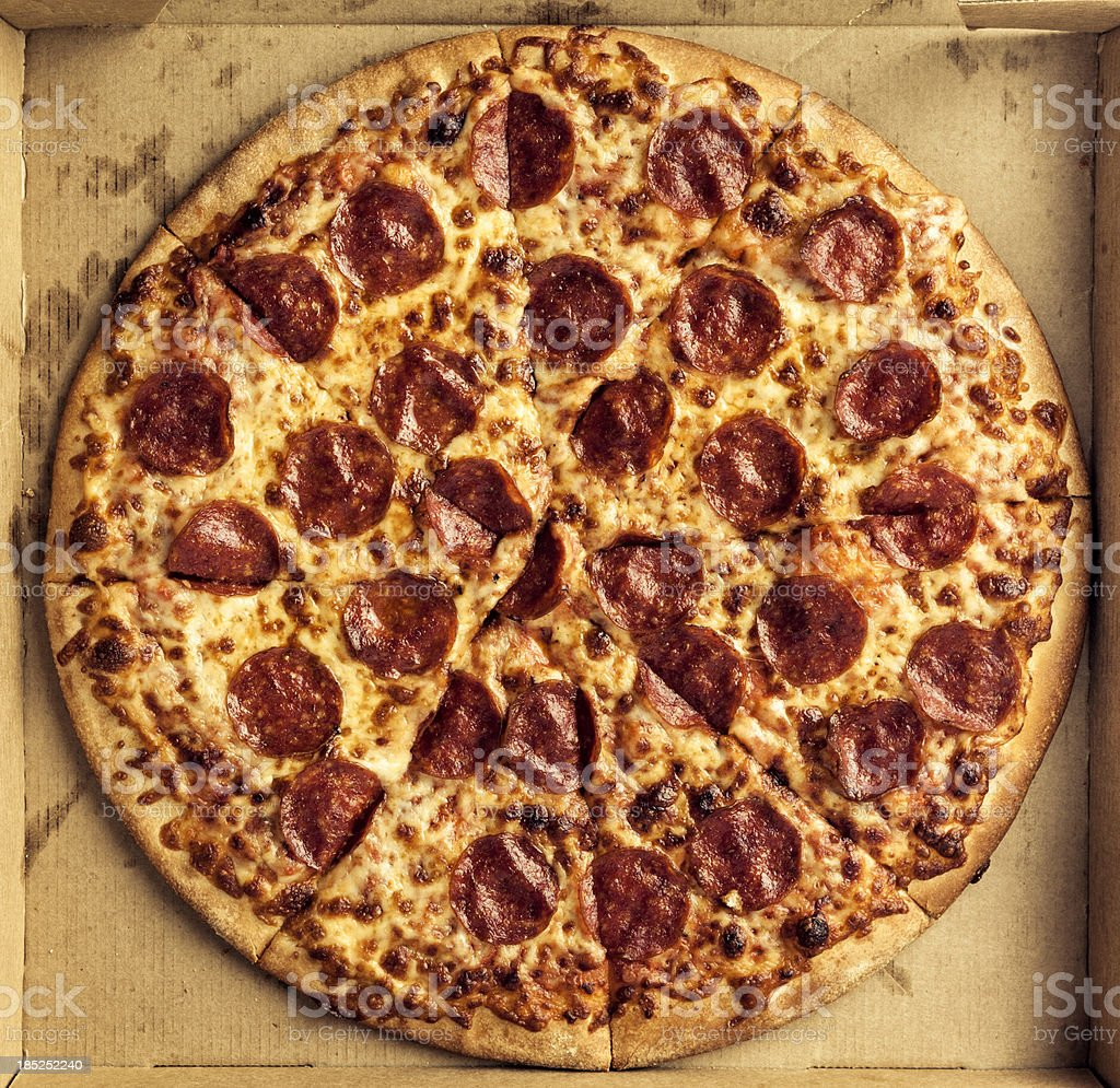 Pepperoni and Cheese Pizza stock photo