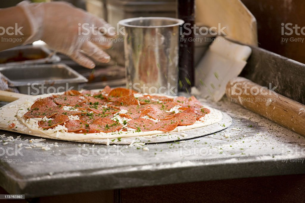 Pepperoni Pizza fresh and stone oven baked stock photo