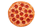 Pepperoni pizza. Italian pizza on white background.