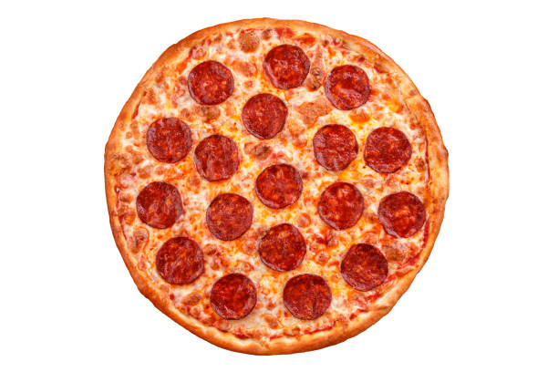 Pepperoni pizza. Italian pizza on white background. stock photo
