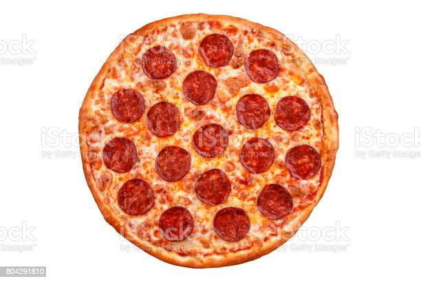 Pepperoni pizza - Italian pizza on white background, Isolated.