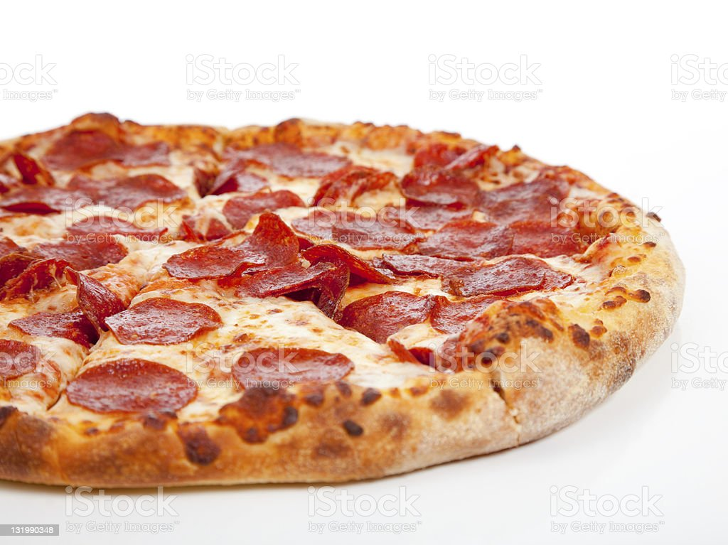 Pepperoni pizza  on a white background stock photo