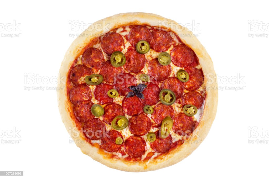 Pepperoni pizza on a white background. View from above. stock photo