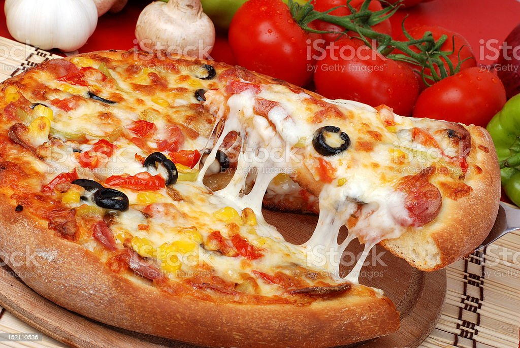 Pepperoni Pizza Slice royalty-free stock photo