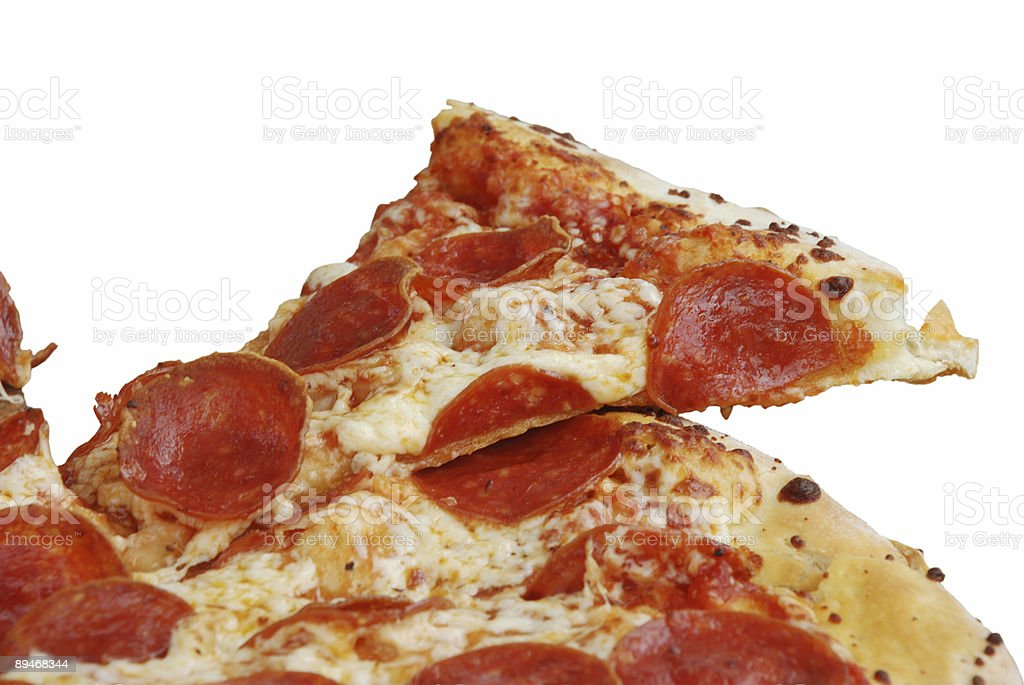 Pepperoni pizza slice royalty-free stock photo