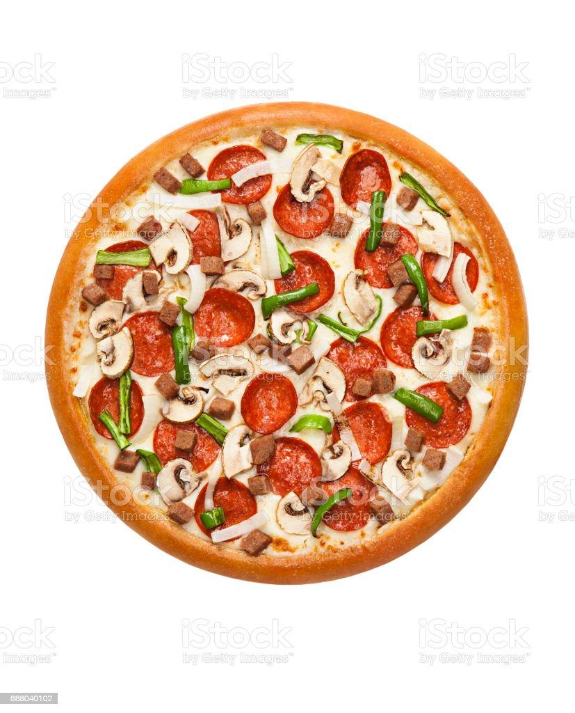 Peperoni-Pizza mit Pilz isoliert auf weißem Hintergrund – Foto