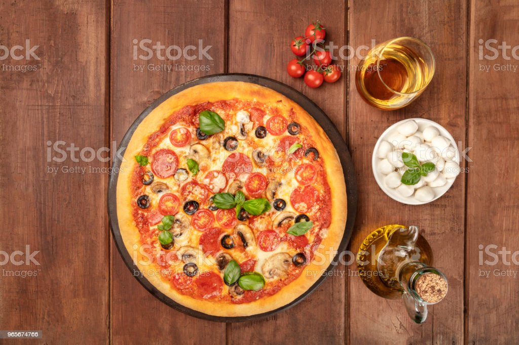 Pepperoni Pizza With White Wine Ingredients And Place For Text