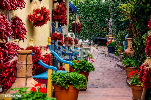 Peppers and Benches in Old Town Albuquerque, New Mexico.