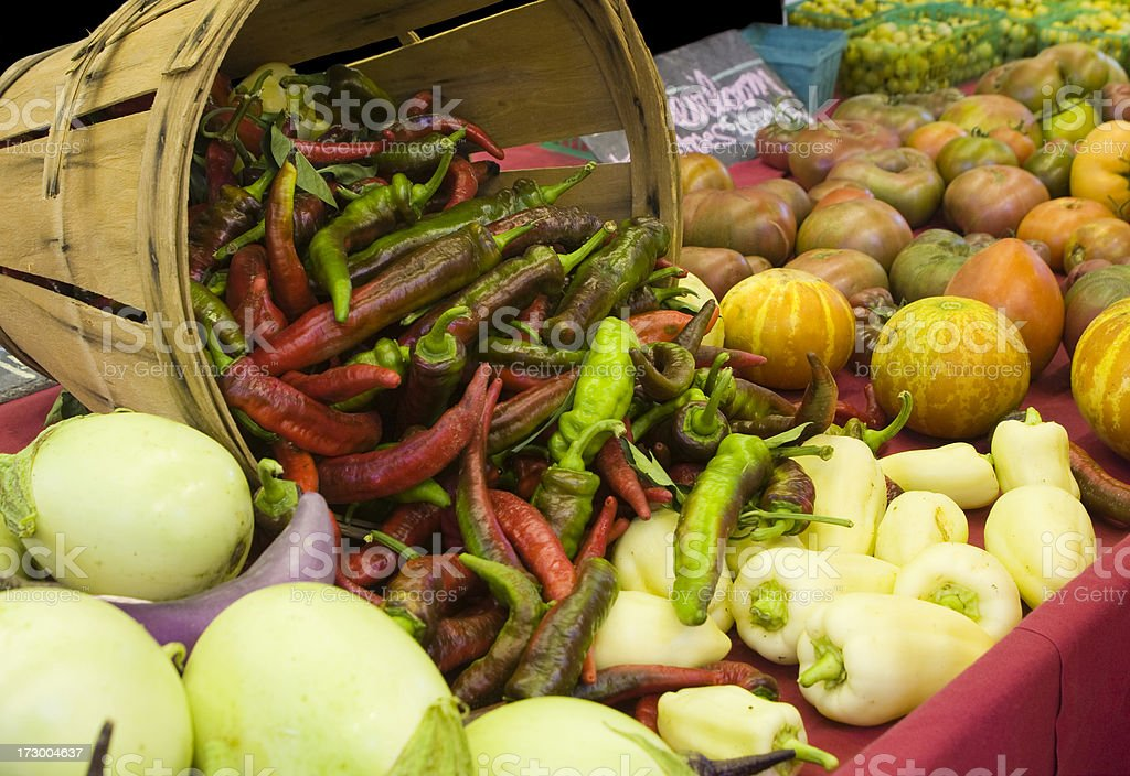 Peppers and Heirloom Tomatoes royalty-free stock photo