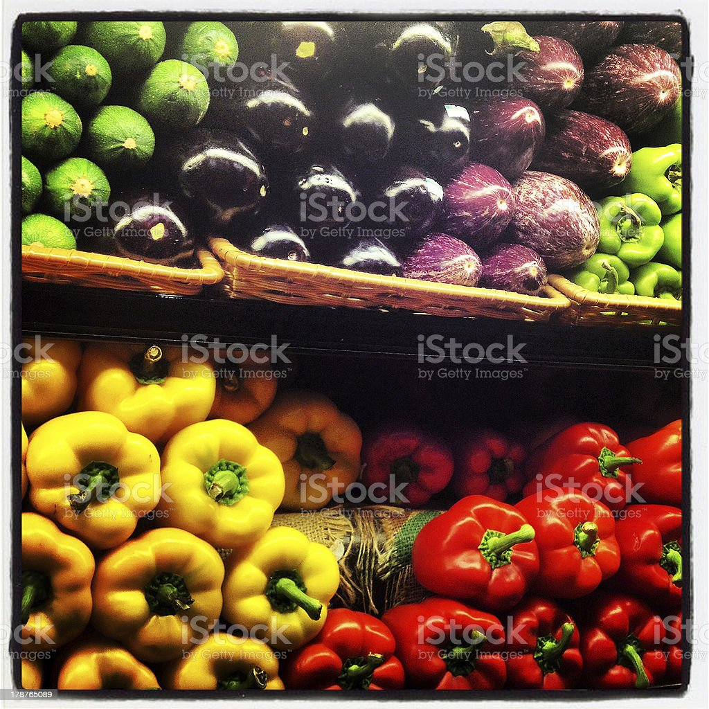Peppers and Produce royalty-free stock photo