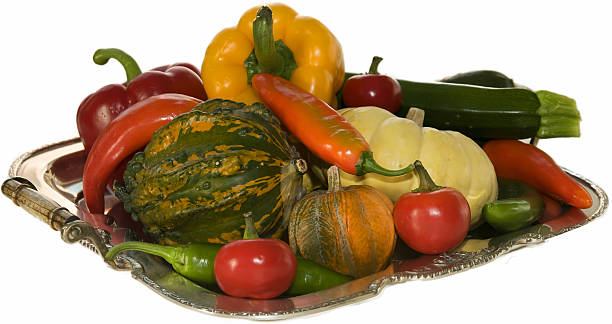 Peppers and pumpkins stock photo