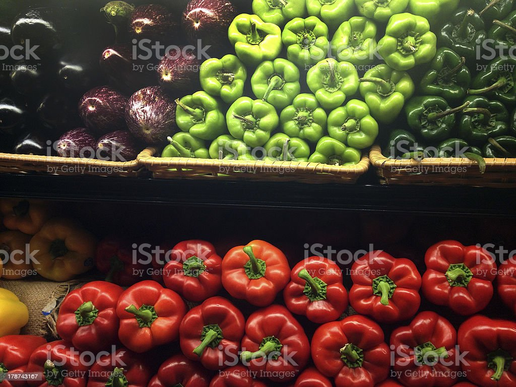 Peppers at Grocery Store royalty-free stock photo