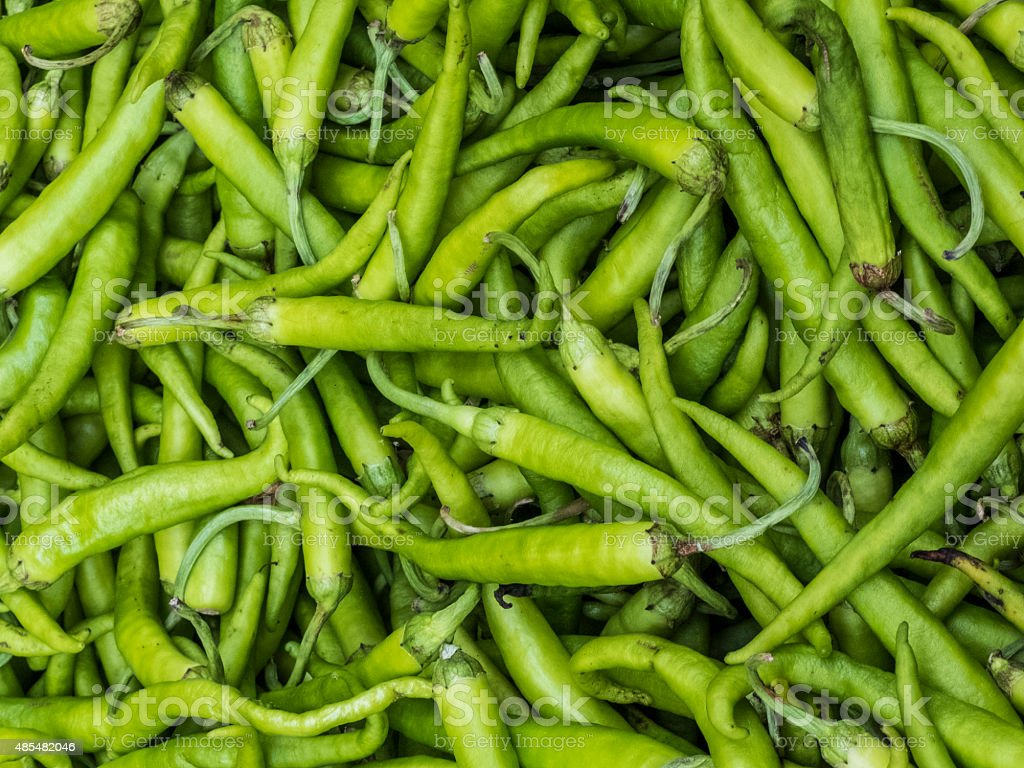 Peppers displayed for sale stock photo