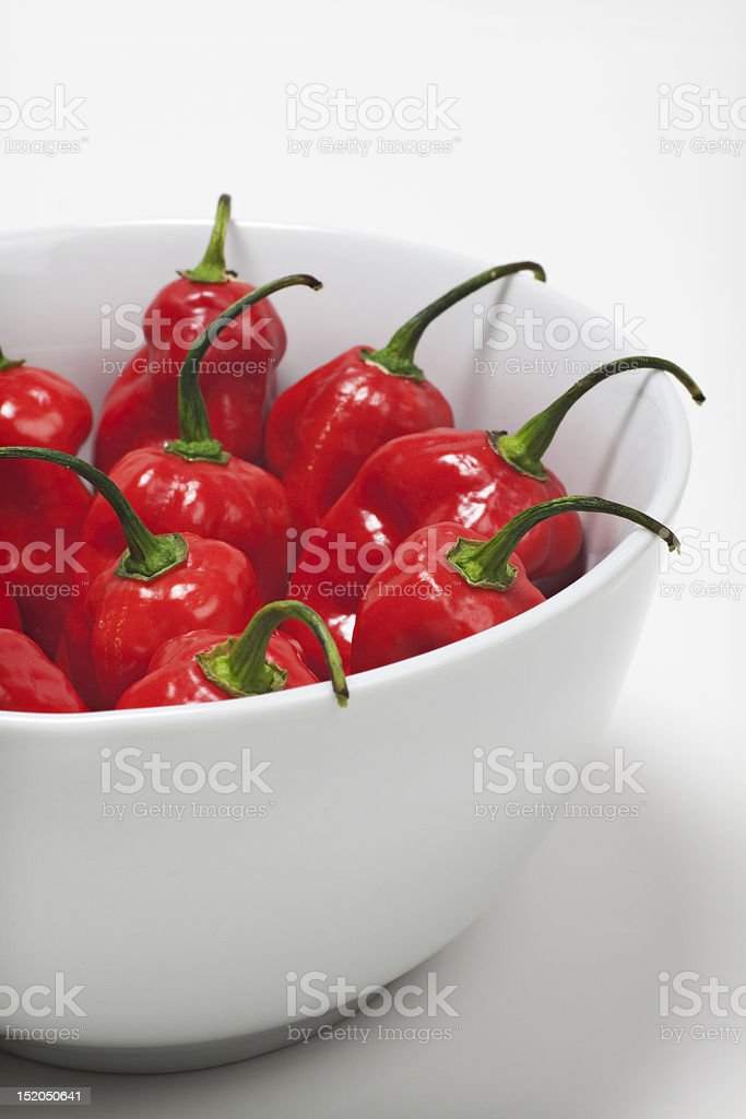 Peppers in a bowl stock photo