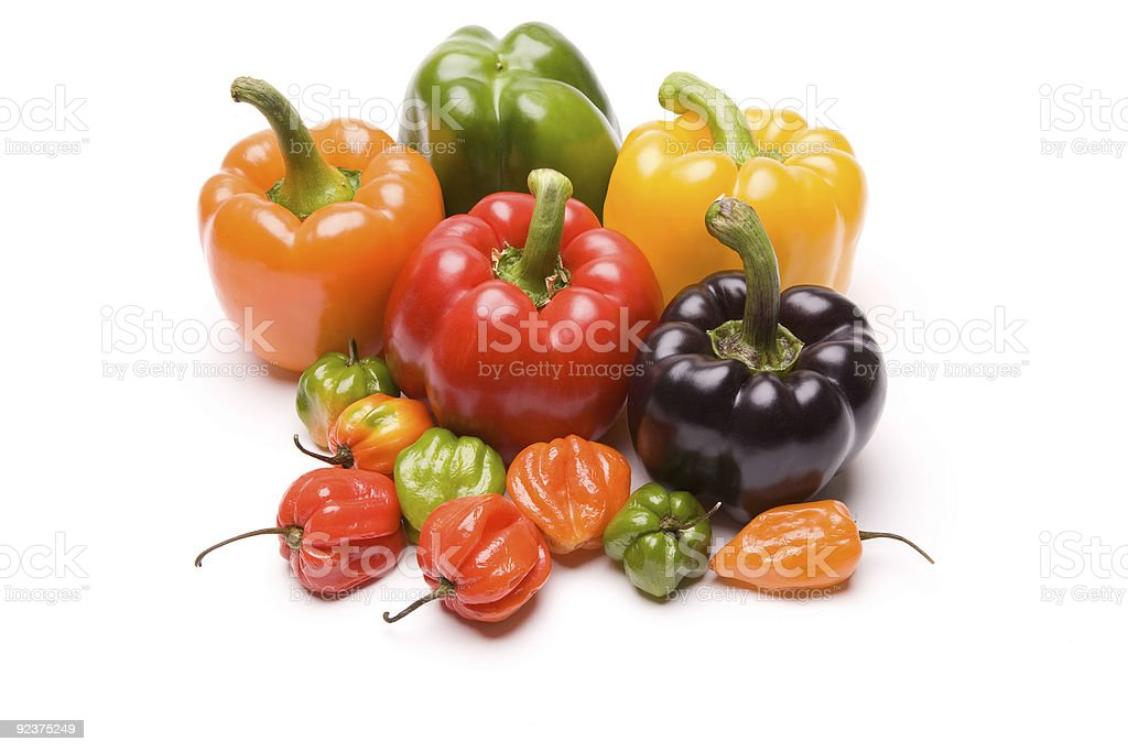 Peppers in Various Colors royalty-free stock photo
