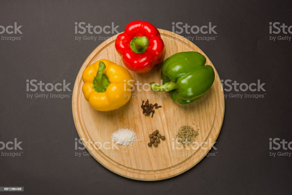 Peppers with various spices royalty-free stock photo