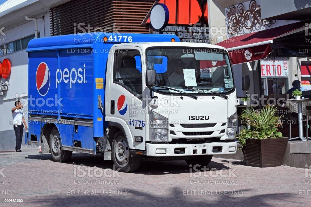Pepsi truck on the street