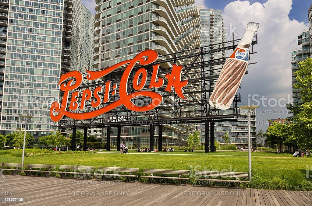 Pepsi-Cola Sign in Long Island City, Queens, New York. stock photo