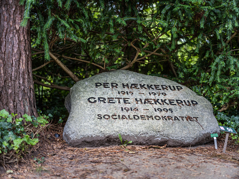 Gravestone for the social democratic Secretary of State Per Hækkerup (1915 - 1979) and his wife MP Grete Hækkerup (1914 - 1995) in Western Cemetery, Copenhagen, Denmark