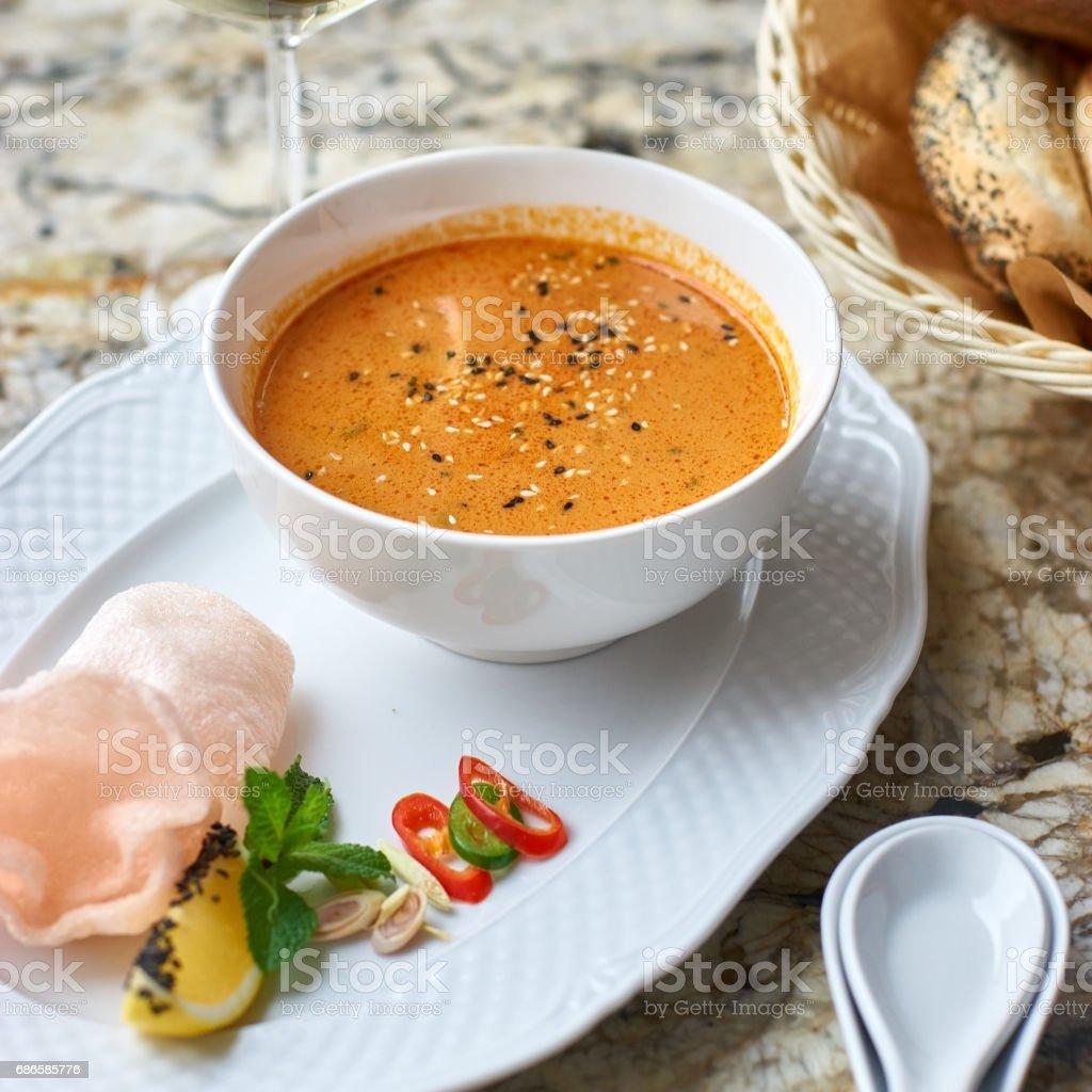 Peranakan cuisine. Singapore Laksa soup royalty-free stock photo