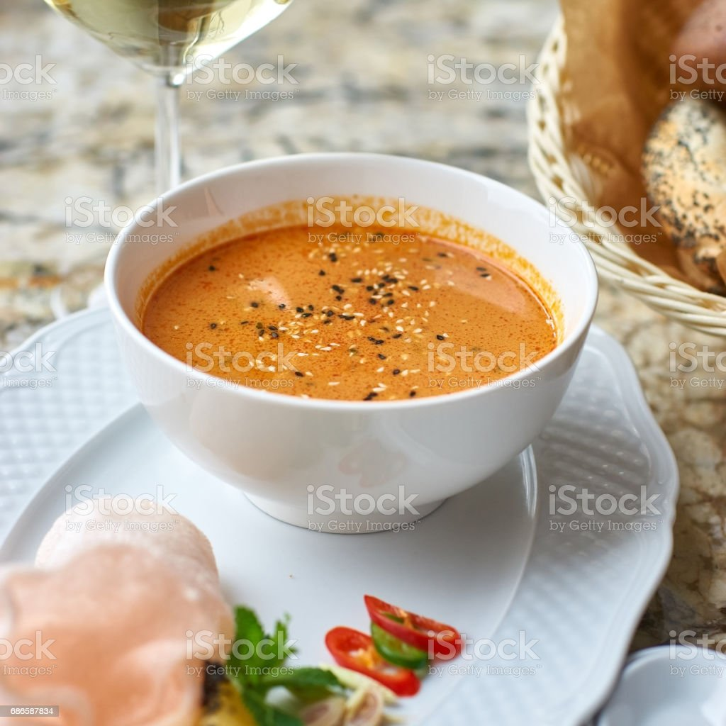 Peranakan cuisine. Singapore Laksa soup royalty-free stock photo