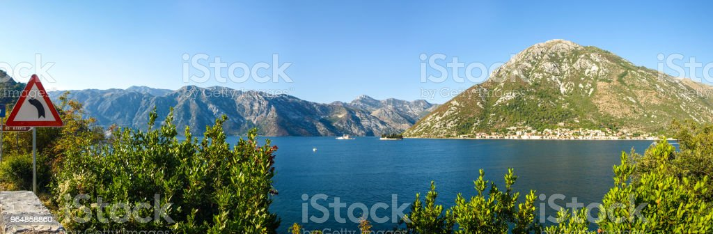 Perast, Montenegro. The old european city and mountain in rays of sunset royalty-free stock photo