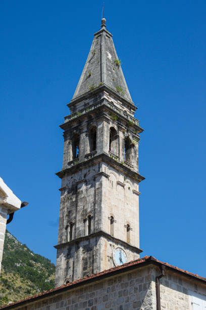 Perast St Nicholas church stock photo