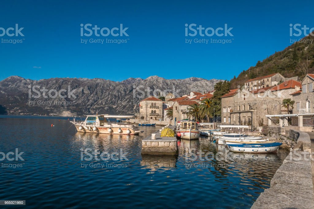 Perast town in Montenegro stock photo