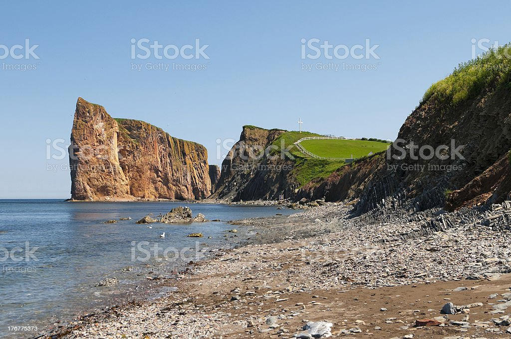 Perce Rock and Cross royalty-free stock photo