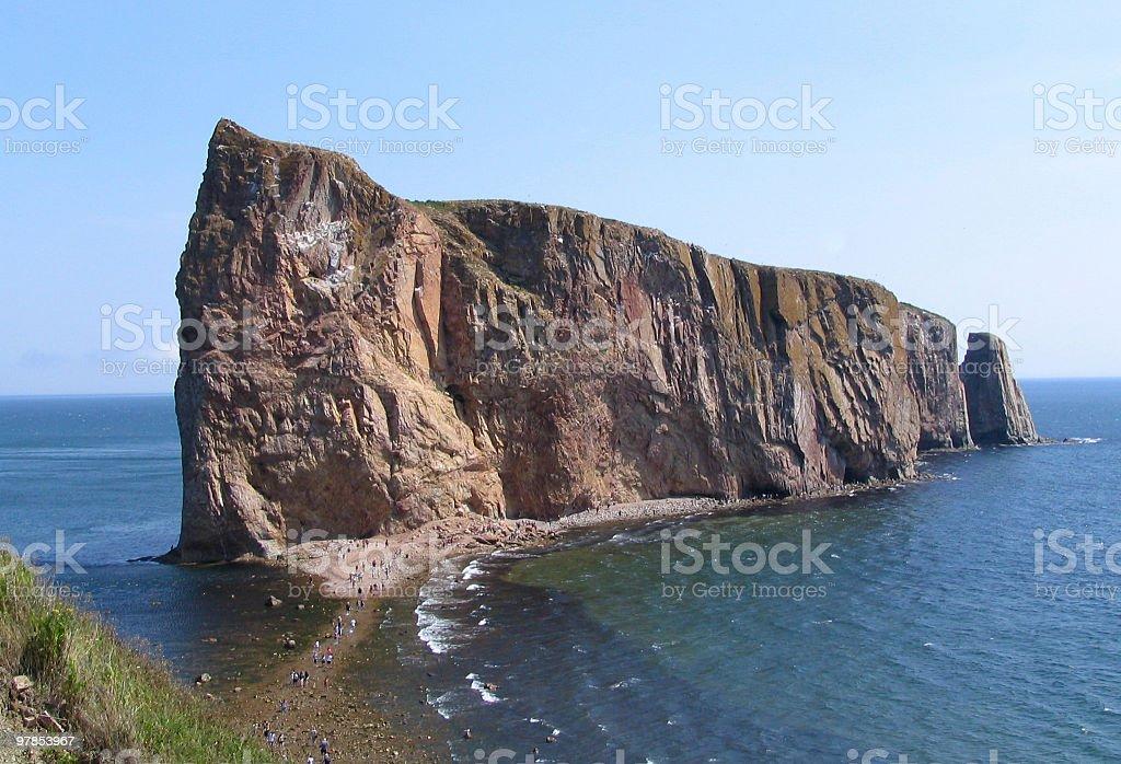 Perce Rock at lowtide - Gaspesie, Quebec royalty-free stock photo