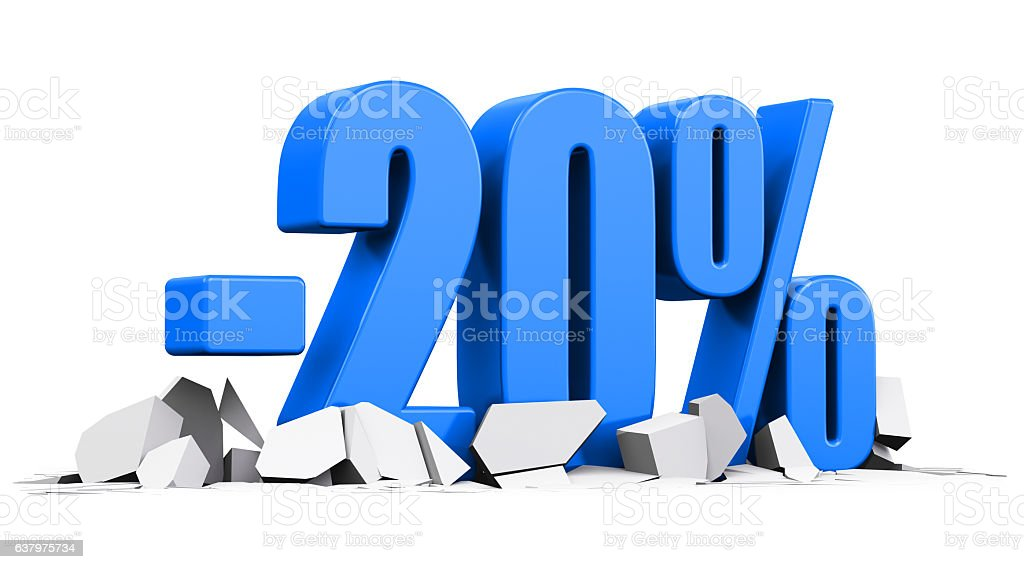 Percent 20 sale and discount advertisement concept stock photo