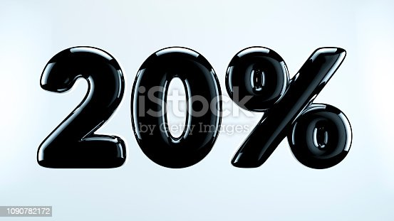 istock 20 percent abstract sale sign, holiday illustration. Black friday. 1090782172