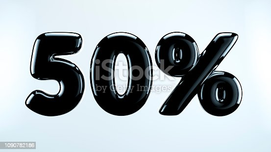 istock 50 percent abstract sale sign, holiday illustration. Black friday. 1090782186