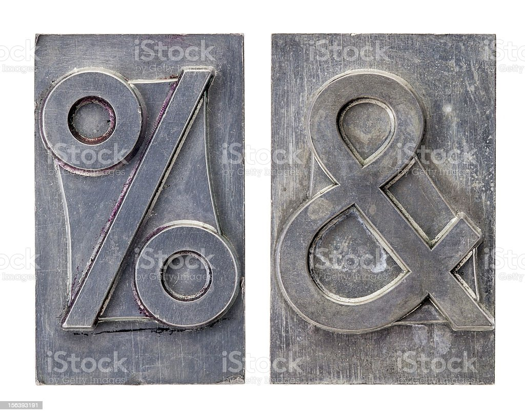 percent and ampersand symbols stock photo