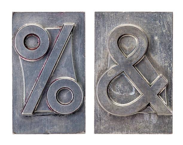 percent and ampersand symbols stock photo