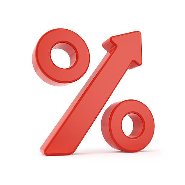 Por cento de crescer sinal - foto de acervo