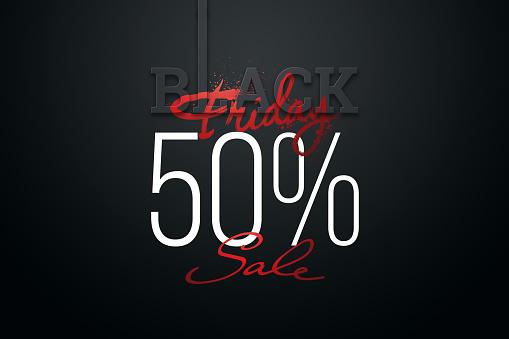 50 percent Black Friday sale, inscription discount and hot sale on a dark background. Black friday banner. 3D illustration, 3D render, copy space