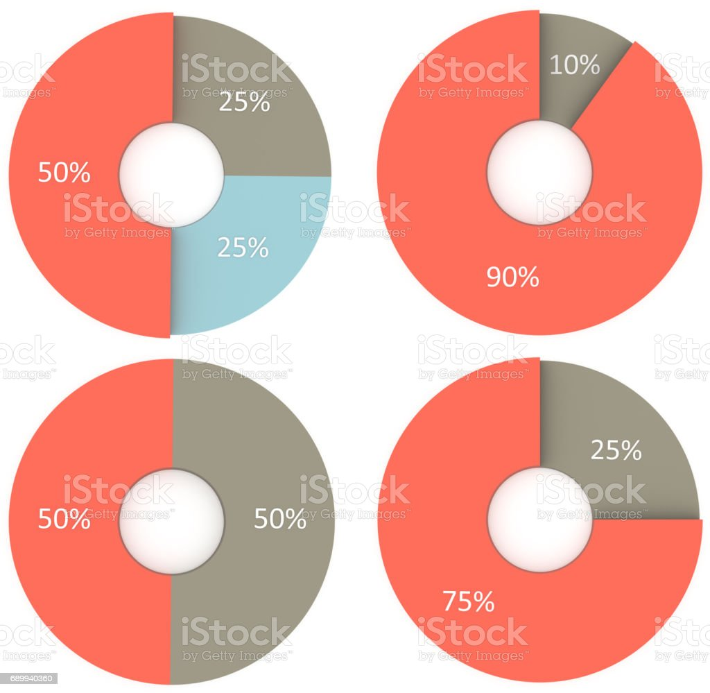 10 25 50 75 90 percent blue and grey pie charts isolated. Percentage infographic symbol set. 3d render circle diagram signs. Business icon illustrations for marketing project stock photo