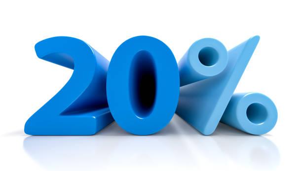 20 percent blue symbol isolated on white background stock photo