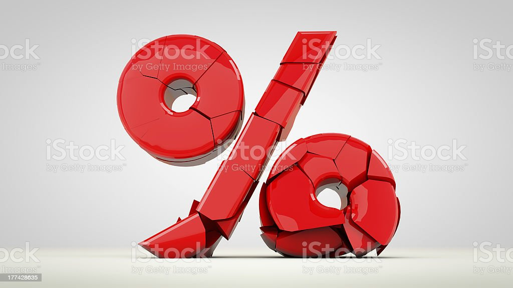 Percent crashed stock photo