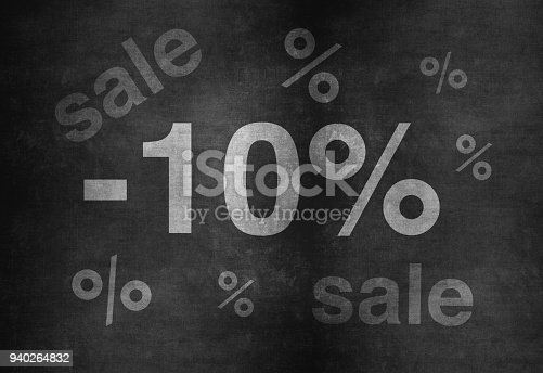 istock 10 percent discount. Blackboard with text '10%'. 940264832