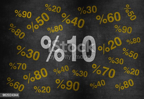 istock 10 percent discount. Blackboard with text '10%'. 952024344