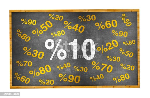 istock 10 percent discount. Blackboard with text '10%'. 953040468