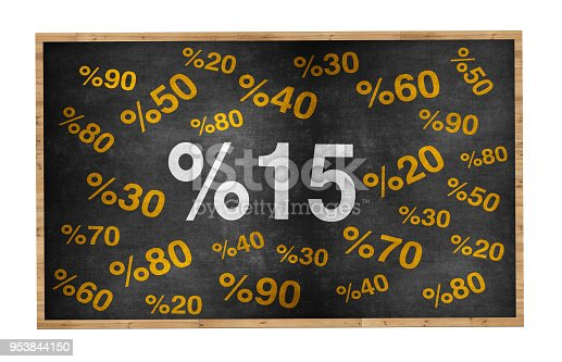511190632 istock photo 15 percent discount. Blackboard with text '15%'. 953844150