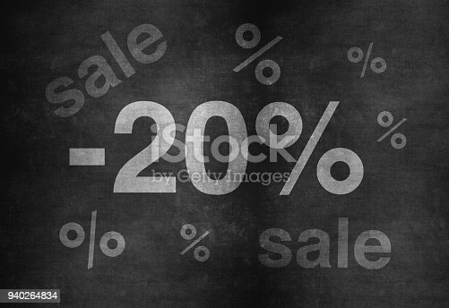 511190632 istock photo 20 percent discount. Blackboard with text '20%'. 940264834