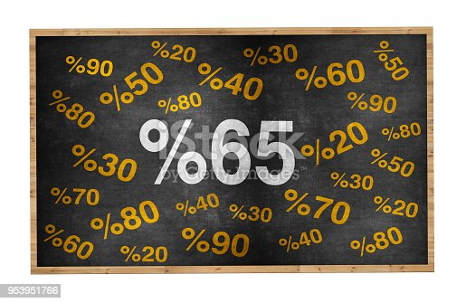511190632 istock photo 20 percent discount. Blackboard with text '20%'. 953951766